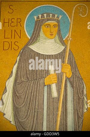 Hildegard von Bingen, ca. 1098 - 17.9.1179, Deutsche Heiliger, Mystiker und Heiler, halbe Länge, Rüdesheim, Rheinschlucht, - Stockfoto