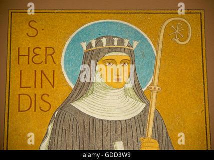 Hildegard von Bingen, ca. 1098 - 17.9.1179, Deutsche Heiliger, Mystiker und Heiler, Porträt, Rüdesheim, Rheinschlucht, - Stockfoto