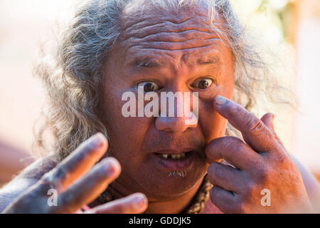 Molokai, lokale, Polynesian, kein Model-Release und Mann, USA, Hawaii, Amerika, Porträt, - Stockfoto