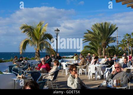 Straße Cafe in Puerto De La Cruz, Teneriffa, Kanarische Inseln, Spanien - Stockfoto
