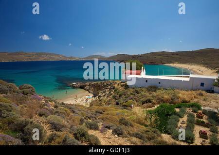 Panormos Bay, Agios Sostis, Mykonos, Kykladen, Griechenland - Stockfoto