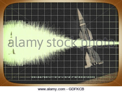 Top secret Rakete mission Bereich 51 Bereich in Monitor Foto Illustration - Stockfoto