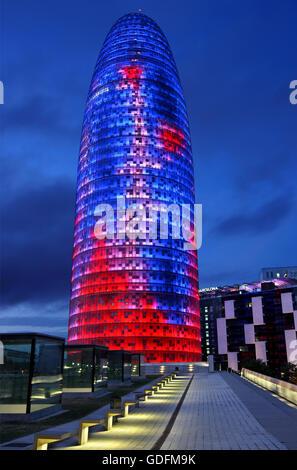 Torre Agbar (Architekt Jean Nouvel), Barcelona, Katalonien, Spanien. - Stockfoto