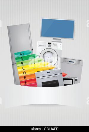 Abbildung von Haushaltsgeräten mit Energie-Effizienz-Rating-Skala - Stockfoto