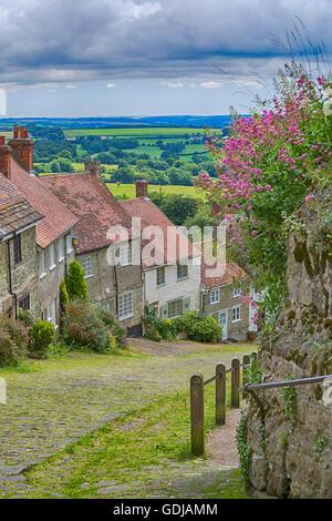 Berühmten Hütten in Gold Hill, Shaftesbury, Dorset im Juli - Stockfoto