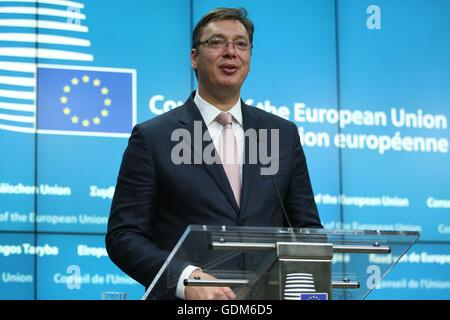 Brüssel, Belgien. 18. Juli 2016. Pressekonferenz nach der Regierungskonferenz mit Serbien, Aleksandar Vučić Credit: Leonardo Hugo Cavallo/Alamy Live News