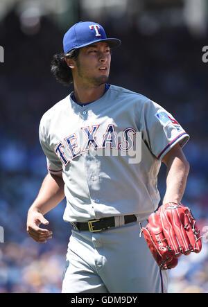 Chicago, Illinois, USA. 16. Juli 2016. Yu Darvish (Rangers) MLB: Texas Rangers Krug Yu Darvish während des Major - Stockfoto