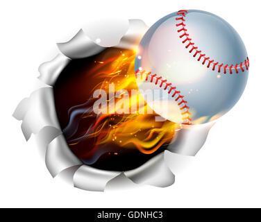 Ein Beispiel für einen brennenden flaming Baseball Ball auf Feuer reißen ein Loch in den Hintergrund - Stockfoto