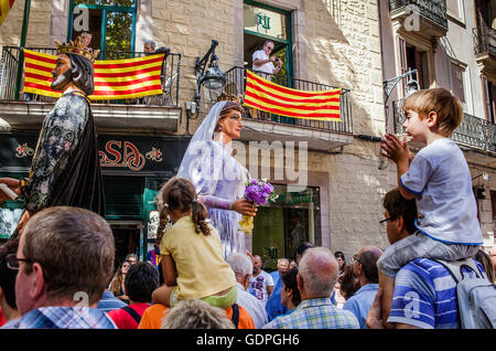 Riesen während La Merce Festivals. Plaça del Pi. Barcelona. Katalonien. Spanien