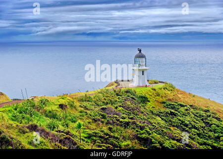 Cape Reinga Leuchtturm, Tasmanische See auf dem linken und Pazifischen Ozean auf der rechten, Cape Reinga, Nordinsel, - Stockfoto