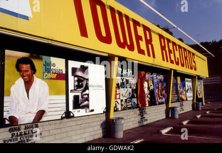Tower Records zu speichern, auf dem Sunset Strip ca. 1992 - Stockfoto