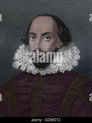 William Shakespeare (1564-1616). Englischer Schriftsteller. Renaissance. Elizabethan Era. Porträt. Kupferstich, - Stockfoto