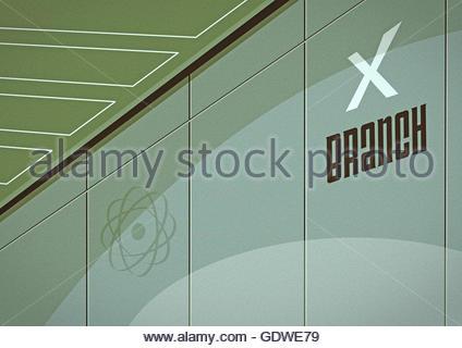 X Zweig Geheimagent Gehirn Schaltzentrale Bereich 51 Männer in schwarz Stockfoto