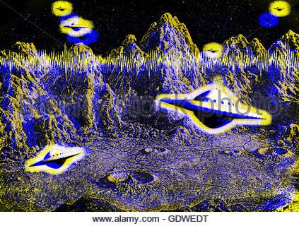 Retro-UFO fliegende Untertasse Mitte Jahrhundert atomaren retro Raumfahrtzeitalter Stockfoto