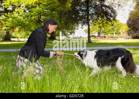 Lächelnde junge Frau mit ihrem starken Border-Collie Hund Seil ziehen - Stockfoto