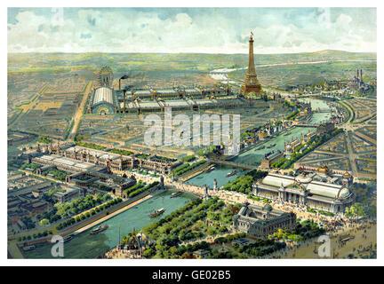 PARIS AUSSTELLUNG 1900 Historische vintage Panoramique Antenne erhöhten Abbildung: Ansicht von Paris wie der Eiffelturm - Stockfoto