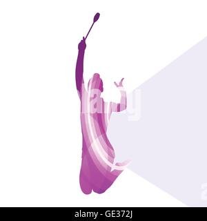 Moderne rhythmische Gymnastik junge Frau mit Clubs in Akrobatik Silhouette Abbildung Vektor Hintergrund bunt Konzept - Stockfoto