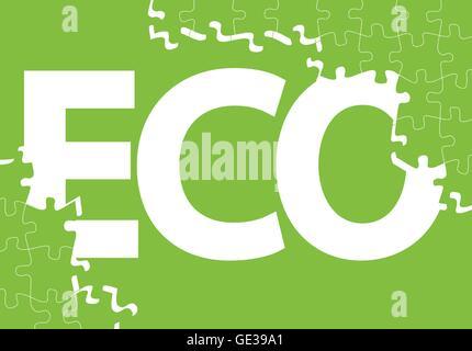 Grüne Ökologie Jigsaw Puzzle Vektor Hintergrund für poster - Stockfoto