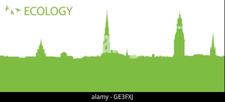 Grüne, umweltfreundliche Ökologie Vektor Hintergrund Konzept CityCard für poster - Stockfoto