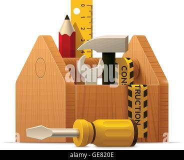 Vektor aus Holz Werkzeugkasten mit Werkzeug-Symbol - Stockfoto