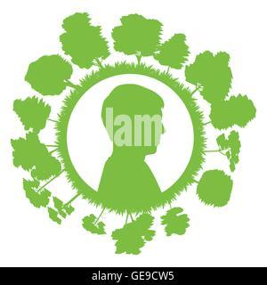 Kopf des Mannes mit Baum grüne Ökologie Konzept Hintergrund für poster - Stockfoto