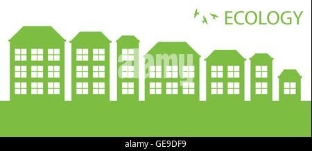 Green Eco Stadt oder einem Dorf Vektor Hintergrund Ökologiekonzept - Stockfoto