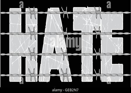 Das Wort hasse hinter einem Stacheldrahtzaun vor einem schwarzen Hintergrund - Stockfoto