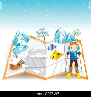 Junge Skifahren auf Karte mit Winterlandschaft, Aktivität, Reisen, Winter, Saison, Ferien, Urlaub, Natur, Objekt - Stockfoto