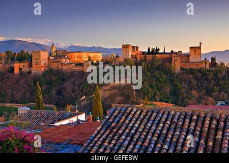 Geographie/Reisen, Spanien, Andalusien, Granada, die Alhambra (La Alhambra) eine maurische Burg und Schloss zum - Stockfoto