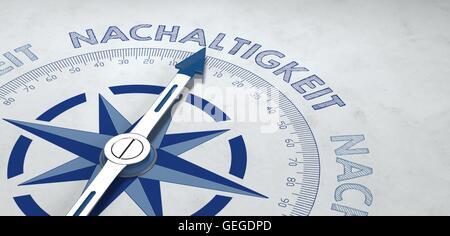 3D Render grauen und blauen Kompass Hinweise auf Nachaltigkeit oder deutsches Wort für Nachhaltigkeit - Stockfoto