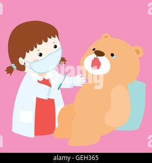 kleine Mädchen-Heilung-Puppe haben Zahn-Karies-Vektor-Illustration - Stockfoto