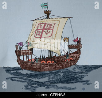 Englische Kriegsschiff. 13. Jahrhundert. Gravur. Color.Illust - Stockfoto