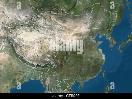 Satellitenbild von China und Ostasien (mit Ländergrenzen). Dieses Bild wurde aus Daten von Landsat-Satelliten erworben - Stockfoto