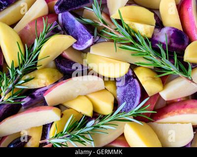 Poatoes, rot, weiß und blau mit frischem Rosmarin - Stockfoto