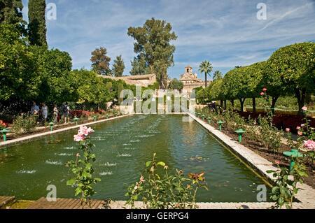 Geographie / Reisen, Spanien, Provinz Cordoba, Cordoba, Alcazar de Los Reyes Cristianos, Garten mit Wasserspielen, - Stockfoto