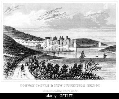 Gravur von Conway (Conwy) Burg & New Hängebrücke, Carnarvonshire, Nordwales mit hohen res aus einem Buch von 1846 - Stockfoto