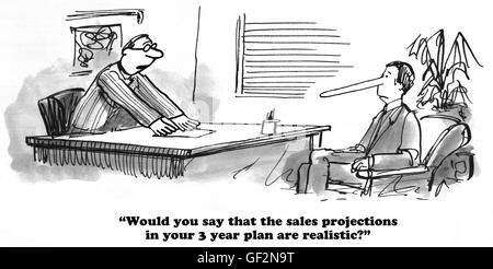 Business-Cartoon über allzu übertriebenen Umsatzprognosen. - Stockfoto