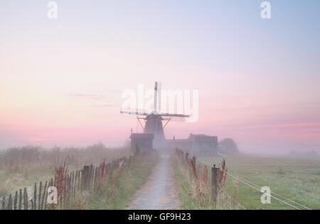 Holländische Windmühle im dichten Morgennebel, Holland - Stockfoto