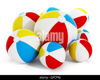 Multi farbige Meer Kugeln isoliert auf weißem Hintergrund. 3D Illustration. - Stockfoto