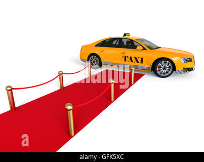 3D render Bild eines roten Teppichs mit einem Taxi am Ende, hochklassige Taxidienst darstellt. - Stockfoto
