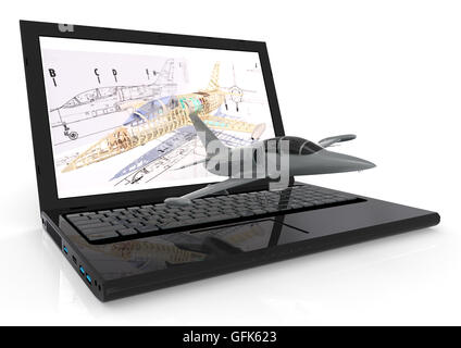 3D Bild eines Laptops mit einem Flugzeug auf Tastatur repräsentieren Luftfahrt CAD Rendern - Stockfoto