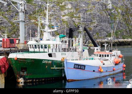Traditionelle Fischerboote im Atlantik Hafen Port 2016 angedockt. Nuuk (Godthab) Sermersooq südwestliche Grönland - Stockfoto