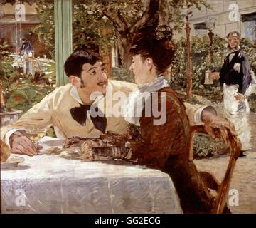 Edouard Manet Französisch Schule Chez le Père Lathuille 1879 Öl auf Leinwand (92 x 112 cm) Tournai, Museum der bildenden - Stockfoto