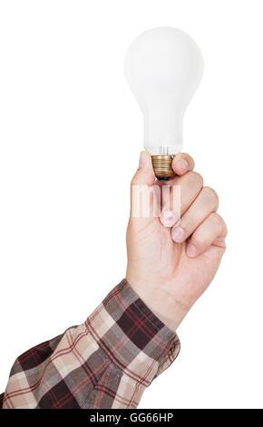 männliche Hand hält Glühlampe isoliert auf weißem Hintergrund - Stockfoto
