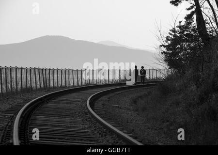 Einsamkeit auf den Bahngleisen Stockfoto