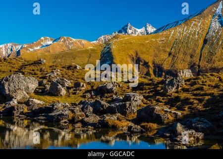 Geographie/Reisen, Deutschland, Bayern, panorama Blick von der Gugger See, zentraler Hauptkamm der Allgäuer Alpen, - Stockfoto