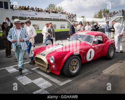1964 AC Cobra vor Beginn, RAC TT Feier, Goodwood Revival 2014, Rennsport, Oldtimer, Goodwood, Chichester, süss - Stockfoto
