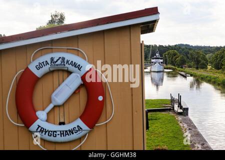 Historischen Kanalboot Juno, Norrkoeping, Göta Kanal, Schweden - Stockfoto