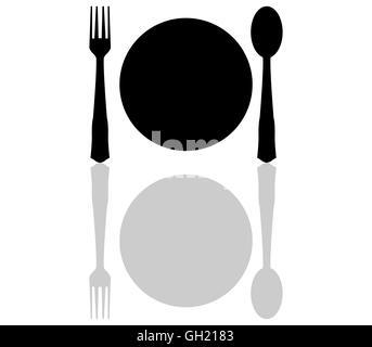 etikette zeichen teller gabel messer draufsicht isoliert auf schwarz stockfoto bild. Black Bedroom Furniture Sets. Home Design Ideas