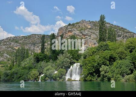 Geographie/Reisen, Kroatien, Wasserfall Roski slap, Krka Nationalpark, zhupa Sibenik-Knin, Dalmatien, Additional - Stockfoto
